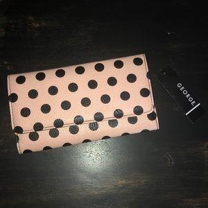 NWT Pink and Black Polka Dot Wallet